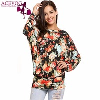 ACEVOG Women Vintage T Shirt Top Spring Autumn Pullover Floral Print Round Neck Batwing Long Sleeve