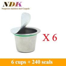 6 tassen/pack Nachfüllbare Nespresso Kaffeekapsel Edelstahl Wiederverwendbare Nespresso Capusle nespresso kompatibel kapseln