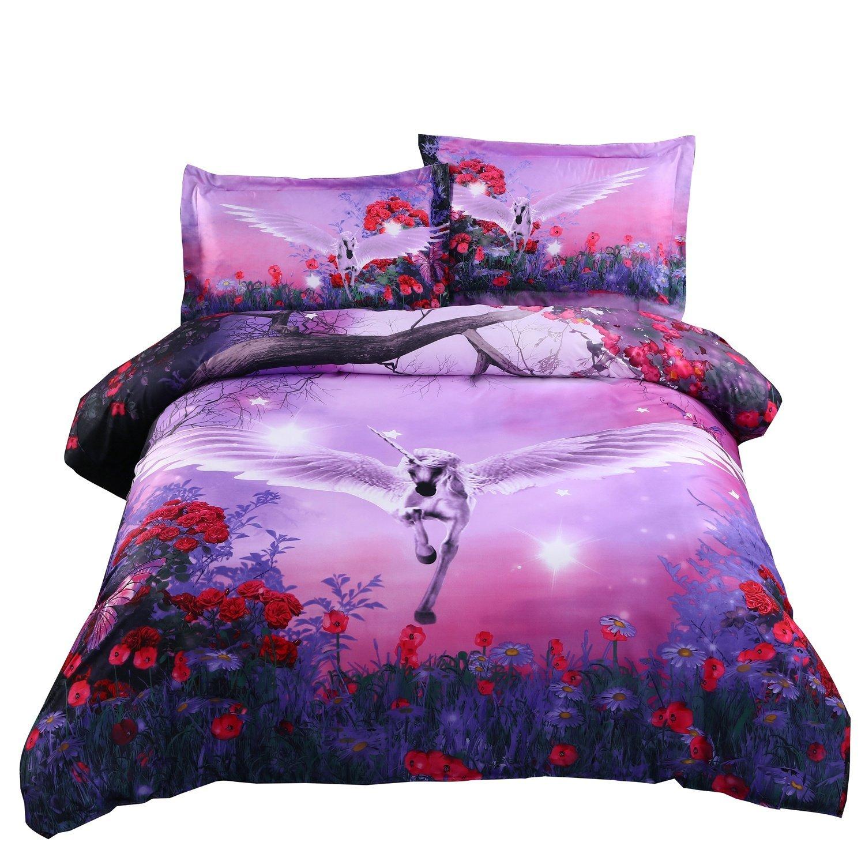 kids unicorn watercolor dreamlike bed bedding size comforter product queen girl flower print cover duvet from bedlinen gold colored set