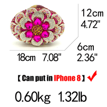 Fuchsia Women Crystal Clutch Flower Evening Bag (4 colors)