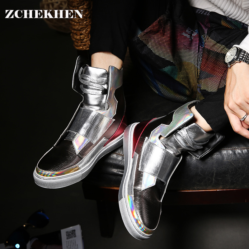 ZCHEKHEN Luxury brand Hip-hop dancing cool silver red black color Shoes Fashion Boots High Top Trainers justin kanye West Boots цена