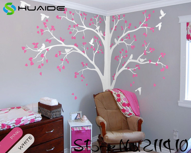 White Tree Wall Decals Large Tree With Birds Wall Stickers For Kids Room  Baby Nursery Wall