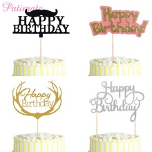 PATIMATE Gold Glitter Birthday Cake Toppers Black Moustache Kids Favors Family Party Decors Favor Supplies