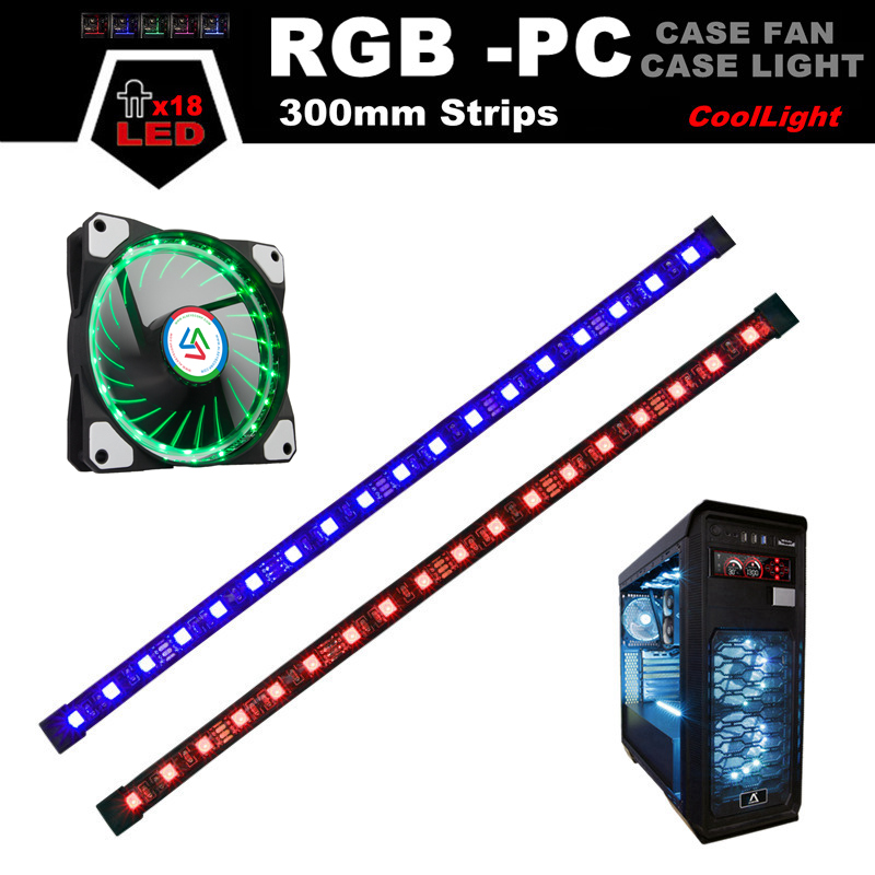 ALSEYE RGB LED Computer Case Fans, RGB Strips (2 strips/pack) , RGB Fan (1 piece/pack), Magnetic 30cm LED Light for Gaming PC new 3u ultra short computer case 380mm large panel big power supply ultra short 3u computer case server computer case