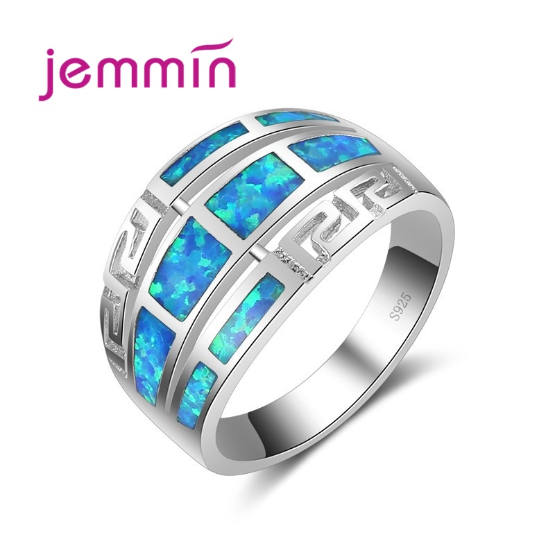 New Finding Geometic Hollow Sparking Wide Ring 925 Sterling Silver With Unique Opal Crystal Stone Party Gift For Women
