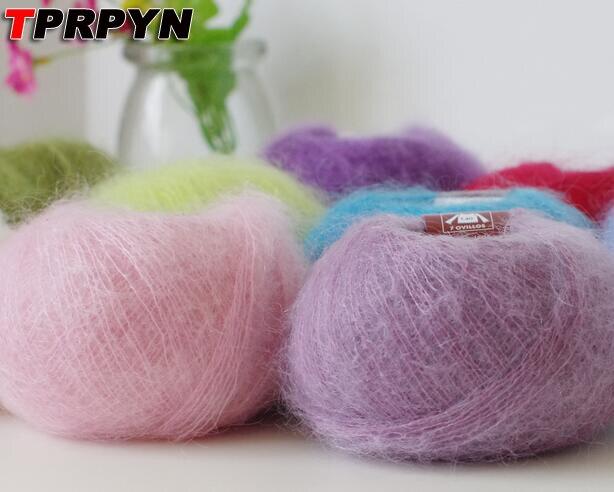 TPRPYN 50g=2Pcs Yarn For Knitting Mohair Wool Knitting Soft Yarn Fingering Baby Crochet Yarn Knitting Threads Angora Crochet