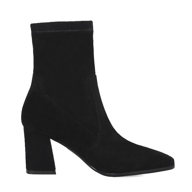 Moda Black Cuadrado Felpa short Tobillo Bota Botas Para Plush Alto De Black Niña Estrecha Microfiber Mujer Tacón Zapatos Cortas Punta RqqSw4aE