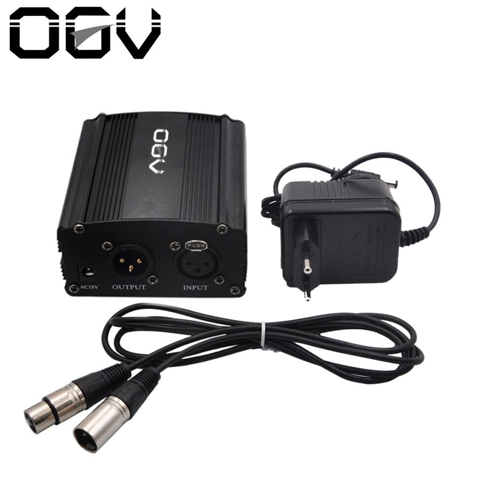 48 V Phantomspeisung mit Adapter, BONUS + XLR 2 Mt Pin Mikrofon Kabel für Jede Kondensatormikrofon Music Recording Ausrüstung