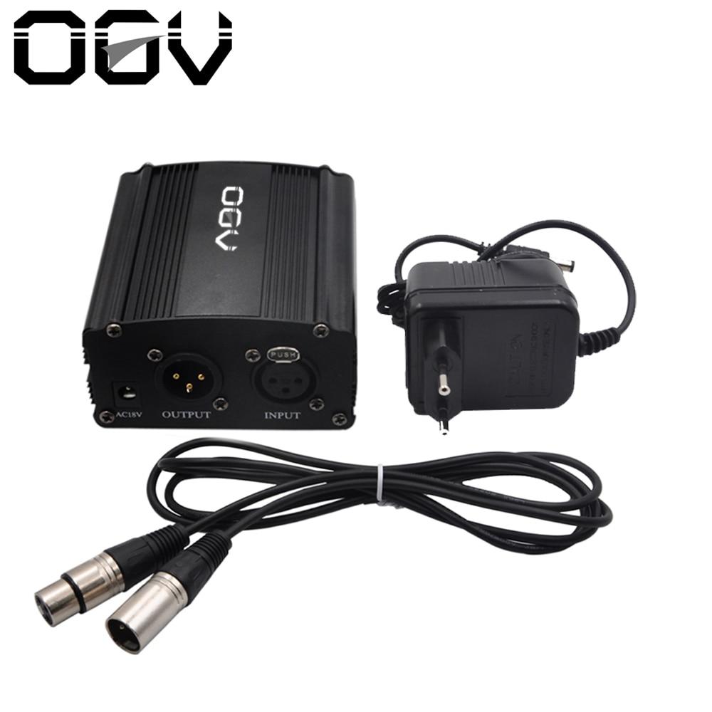48 V alimentación Phantom con adaptador, bono + XLR 2 m Cable del micrófono del Pin para cualquier micrófono de condensador equipo de grabación de música