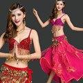Bellydance indio oriental belly danza gitana traje de baile trajes ropa sujetador cinturón de cadena de anillo bufanda falda dress suit set 168