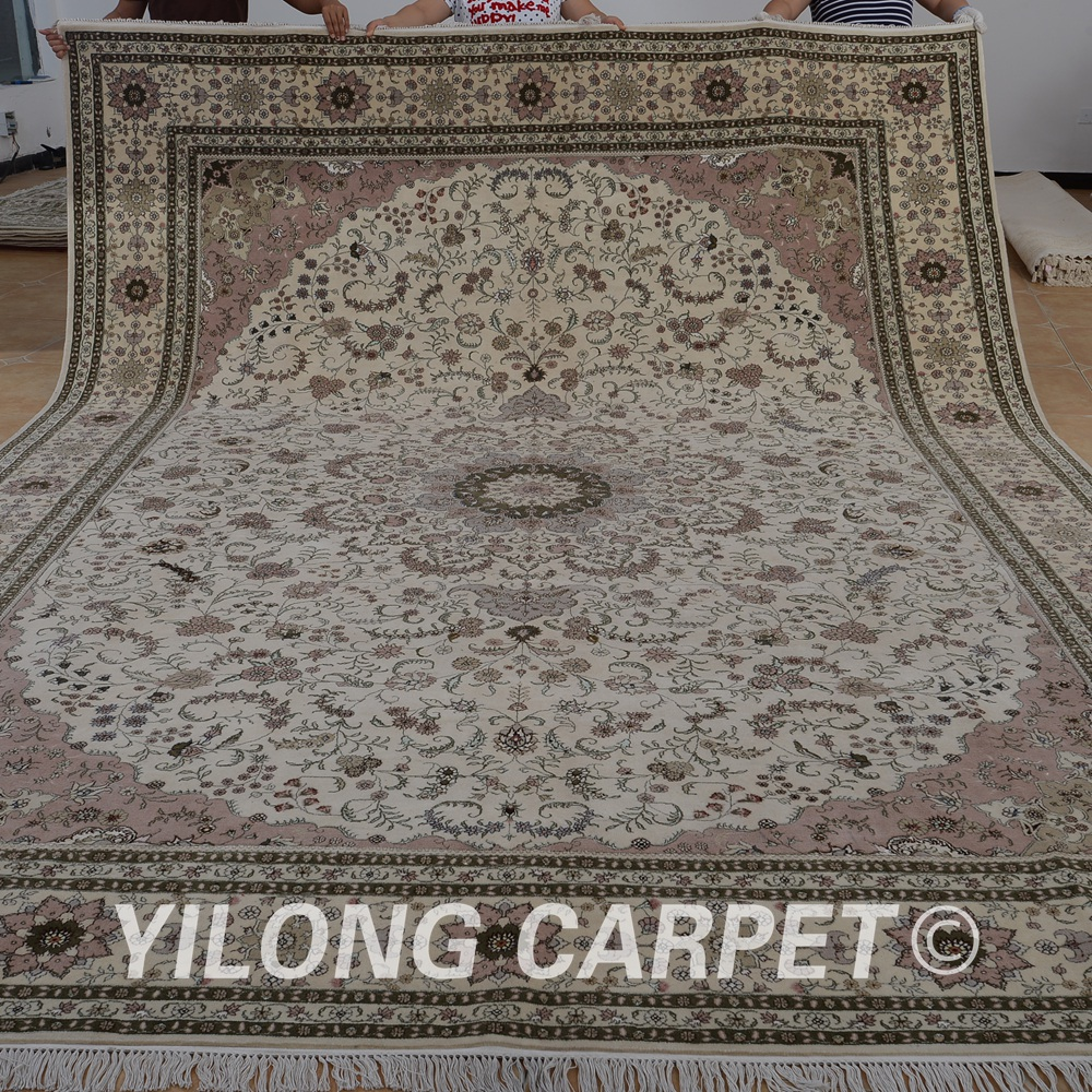 Yilong 10 X14 Persian Wool Silk Carpet Beige Exquisite Traditional