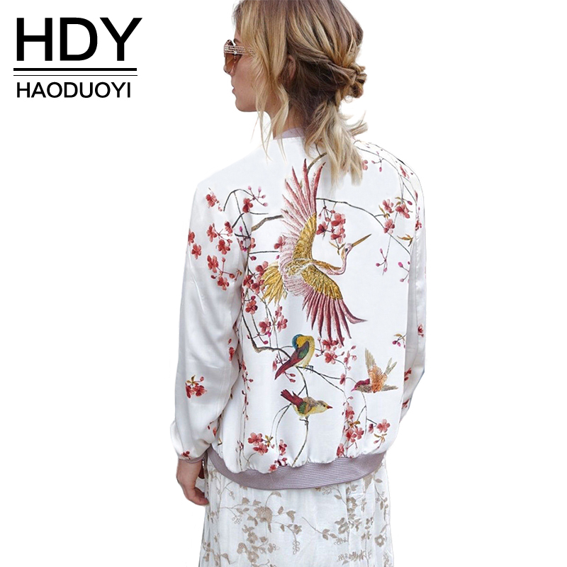 HDY Haoduoyi Phoenix Print White Bomber Jacket Exotic Stand Collar Zipper Pink Jacket Casual Loose Sweet