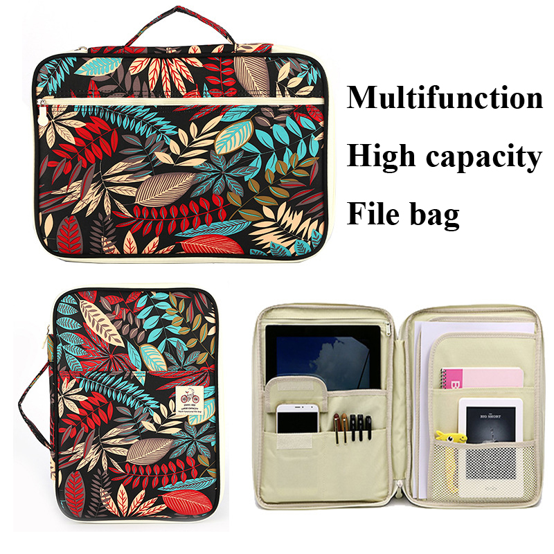 Chinese Style Multi-Functional A4 Document Bags Embroidery Waterproof Oxford Cloth Pencil Cases For Notebooks Pens iPad Computer a three dimensional embroidery of flowers trees and fruits chinese embroidery handmade art design book