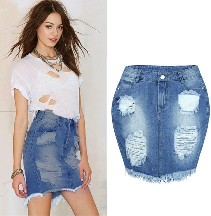 New Fashion Dress Women Denim Dress Jeans High Waist Ripped Vintage Fashion Solid Skinny Short Pencil Dress