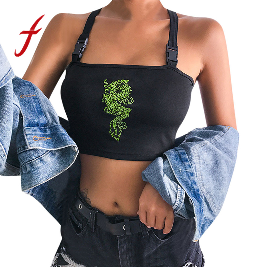 Cat shirt women's summer slash neck sexy short camisole top ladies' schoolbags dragon embroidered camisole T-shirt tops