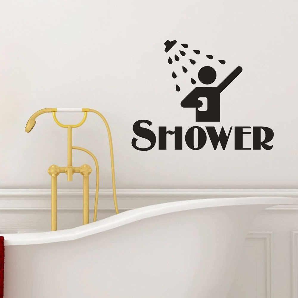 무료 배송 빈티지 벽 스티커 샤워 욕실 장식 화장실 문 비닐 데칼 전송 빈티지 장식 따옴표 벽 예술 뜨거운