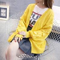 Lace Up Japan Lolita Warm Cardigan Loose Big Lantern Sleeve Cute Sweater Women Fashion Knitned Winter
