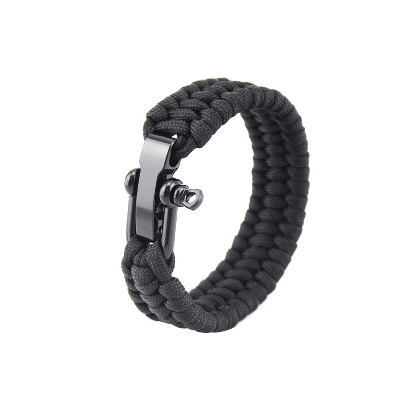 2018 Newest Outdoor Survival Stainless Buckles Camping Hiking Rescue Bracelets Parachute Cord Men & Women Emergency Rope Black цена