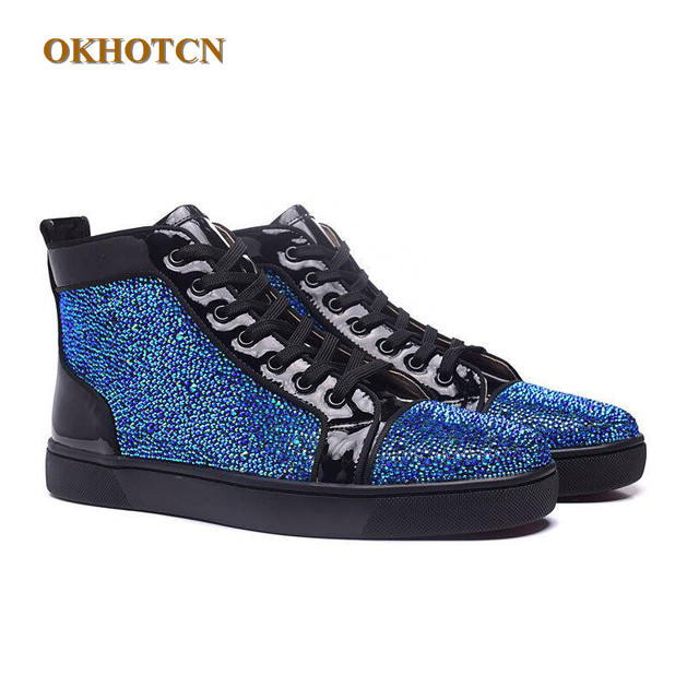 Men Designer Shoes Unisex Bling Blue Glitter Spike Studs Red High Top  Bottom Brand Fashion Luxury Boots Outdoor Casual Shoes Men 4d8607cb5d13