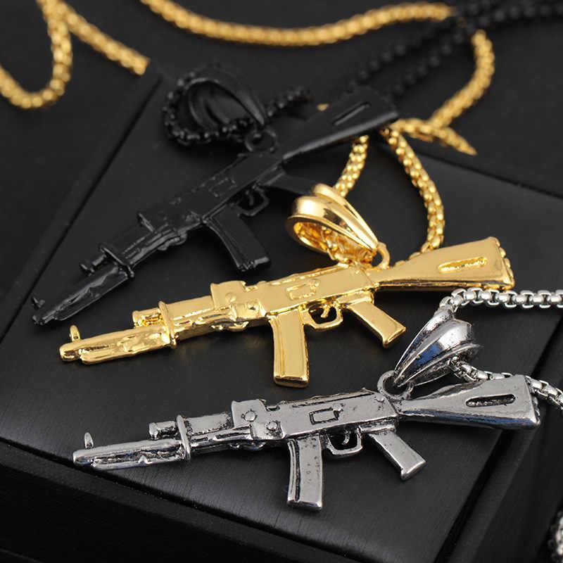 Punk Style Hiphop Gun broń AKM karabin łańcuszek z wisiorem naszyjnik mężczyźni Party Wearriing złoty kolor naszyjniki