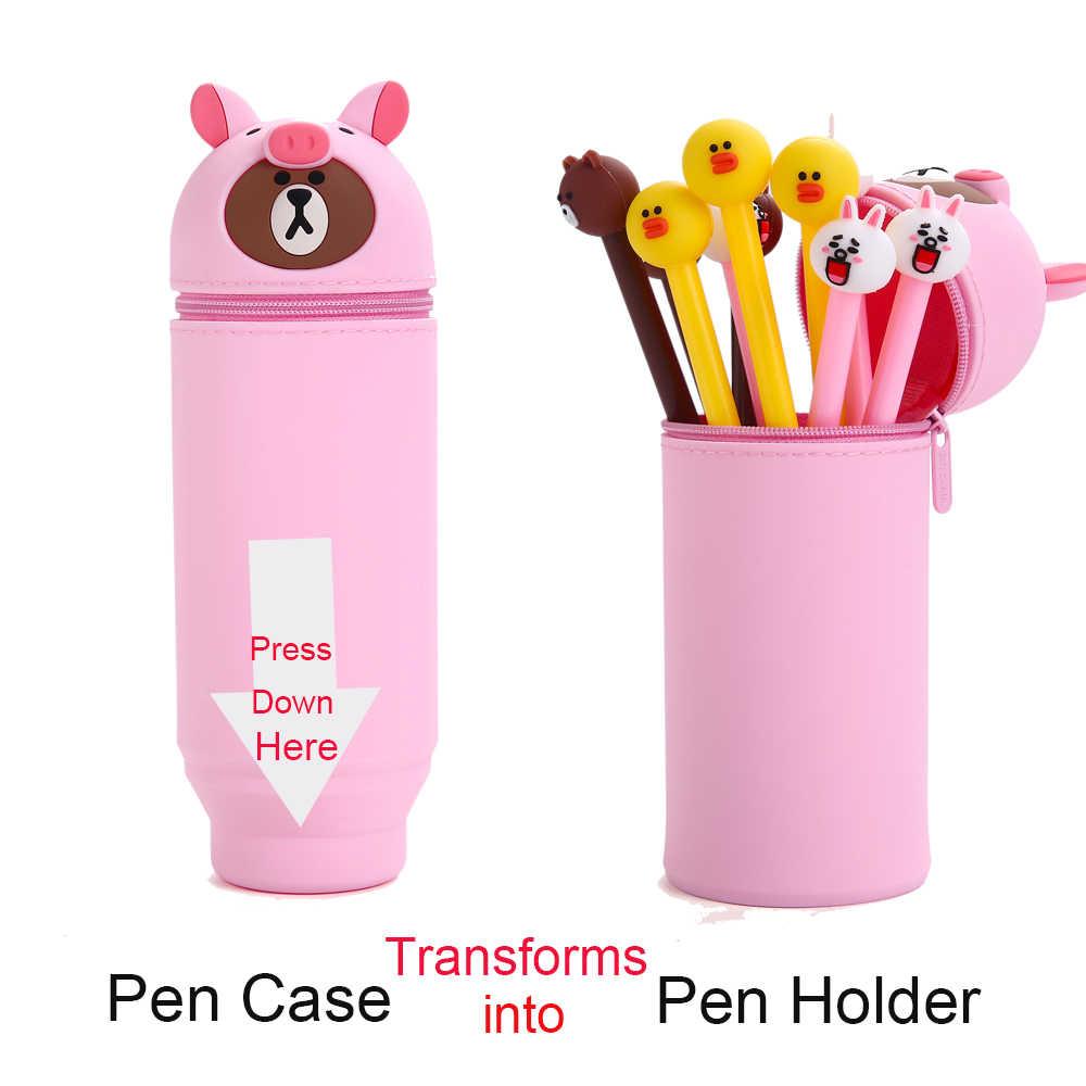 Z gumy silikonowej rozciąga się Stand Up długopis etui uchwyt na długopis prezent dla dziewczyny studentów