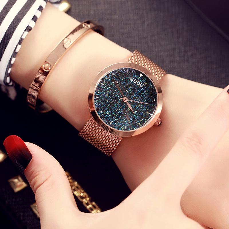 Fashion Guou Women Luxury Rose Gold Simple Quartz Watches Casual Metal Mesh Stainless Steel Dress Wristwatches Hot Sale Reloj new fashion stainless steel silver gold mesh watch unique simple watches casual women men quartz wristwatches clock hot sale