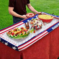 JIAINF aufblasbare Pool Party Kühler Air Eis Bar Aufblasbare Bier Tisch Pool Eis Eimer Salat Bar Fach Trinken Halter BBQ picknick