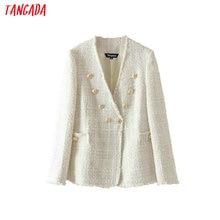 Tangada women solid tweed blazer vintage japanese style 2019 ladies long sleeve
