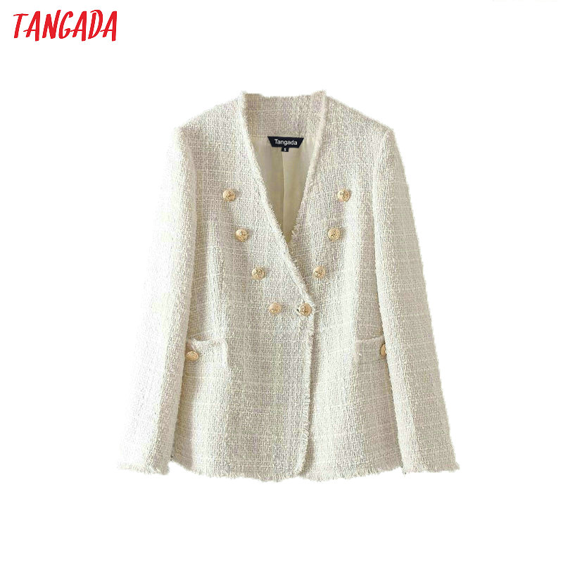 Tangada Women Solid Tweed Blazer Vintage Japanese Style 2019 Ladies Long Sleeve Blazer Jacket Coat Casual Brand Tops BE527
