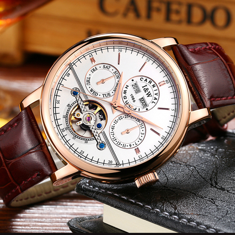 Luxury Waterproof  watch men Sapphire glass  leather strap Date Week  Automatic machine watch white dial relogio masculino holuns watch women sapphire glass white dial quartz waterproof multicolor red leather strap watch
