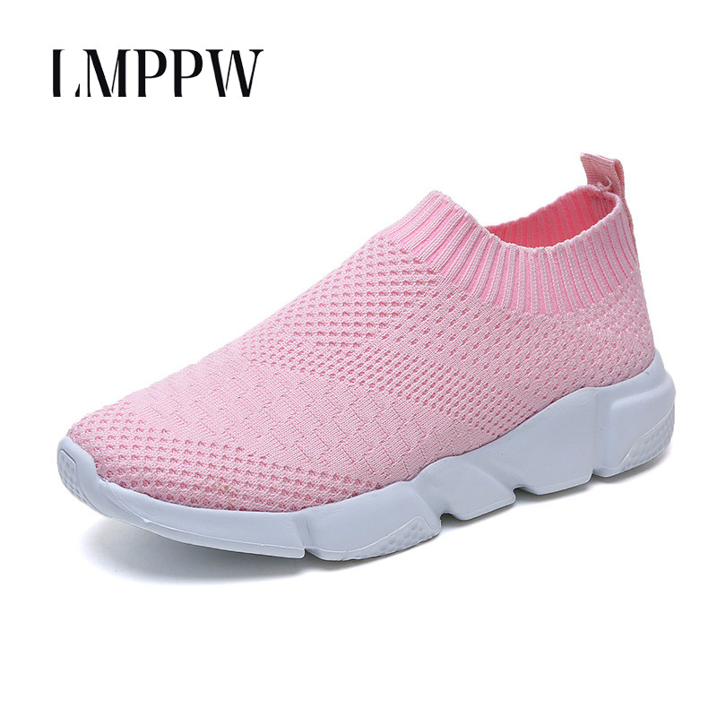 US $17.08 39% OFF|Large Size Women's Shoes Summer Breathable Mesh Sneakers Shoes Light Comfort Slip on Ladies Loafers Ankle Sock Flats Shoes Pink in