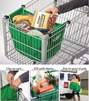 High Quality Reuseable Folding Shopping Cart Trolley Grocery Bag Clip To Cart Grab And Go Bags