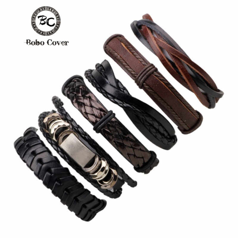Bobo Cove 6pcs/set Black Wristband Genuine Leather Charm Bracelet Men Jewelry Punk Wrap Braided Leather Bracelet For Men Jewelry