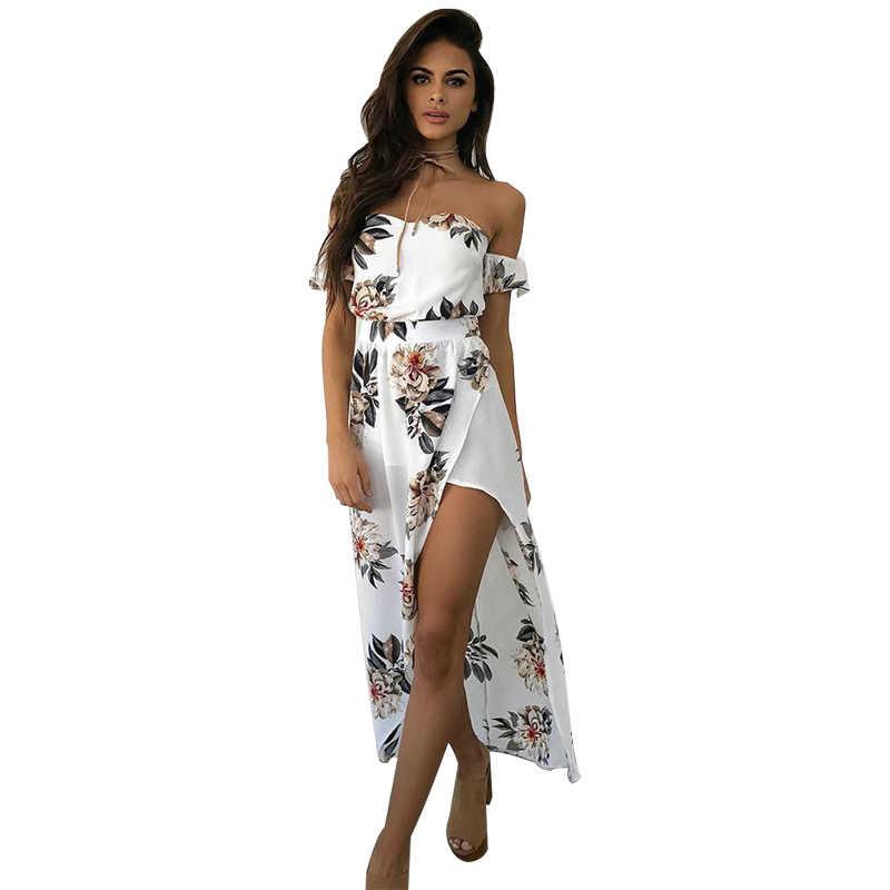 Anself Сексуальное Женское Цветочное платье с открытыми плечами с высоким разрезом и короткими рукавами летнее платье 2019 Элегантное Длинное платье без бретелек белое