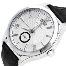 FLENT Men Automatic Watch Leather Strap Date Display Fashion Mechanical Wristwatch