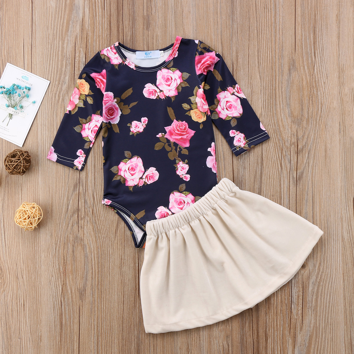 Girls' Baby Clothing Girls Flower Romper Jumpsuit Top And Velvet Dress Skirts Infant Outfits Costume Full Sleeve Cotoon Casual Clothing Sets