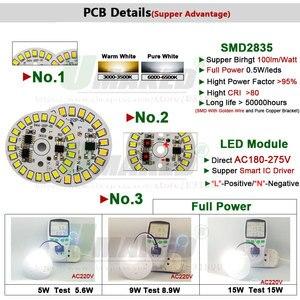 Image 2 - 220v led pcb 7 ワットDia35mm SMD2835 630lm ledモジュールアルミランププレートスマートicドライバ電球パンネルdowlightソースウォーム/ホワイト