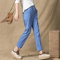 2017 Fashion Linen Capris Trousers For Students Casual Pants Women's Solid Color Elastic Waist Button Pants Female Clothing XXL