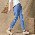 2017 de La Moda de Lino Capris Pantalones Para Estudiantes Casual Pantalones de Color Sólido de Las Mujeres Botón de La Cintura Elástico Pantalones Femeninos Ropa XXL