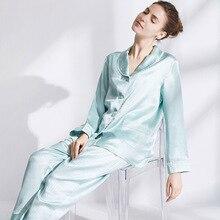ملابس نوم حريرية 100% بيجامات منزلية من الحرير بأكمام طويلة بناطيل 19 متردد/شهر