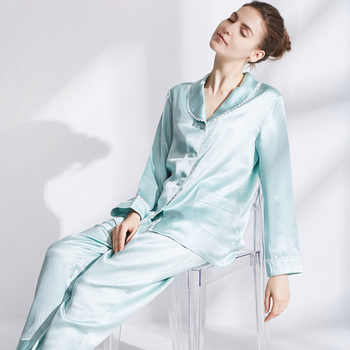 Silk Nightwear Suit 100% Silk Home pajamas  Long Sleeved Trousers 19 m/m - Category 🛒 All Category
