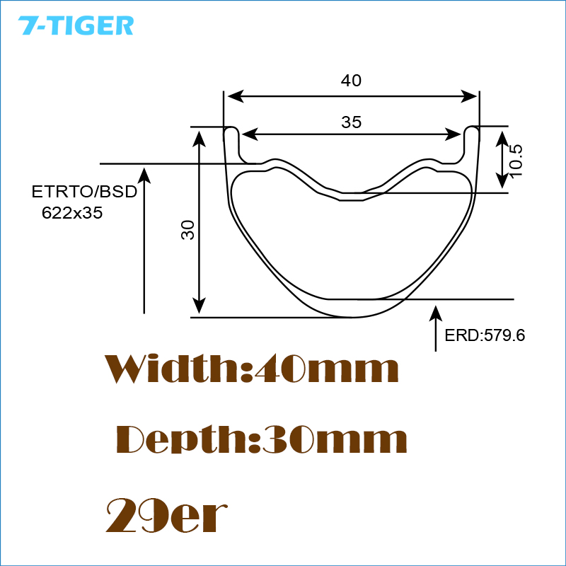 7-TIGER  1 pair UD Matte 29ER Carbon MTB Bicycle Rim 29 Mountain Bike Carbon Rims clincher for XC/AM/DH carbon mtb 650b rims stiffer dh bike part 27 5er 35x25mm wide down hill jumping racing ride excellent cycling parts store online