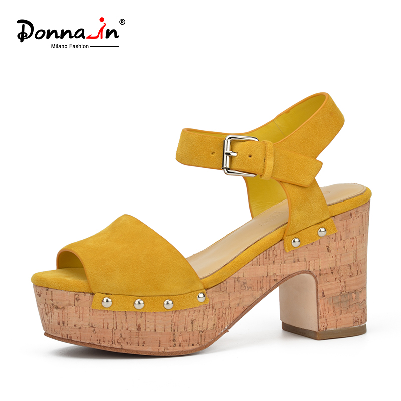 دونا في جلد طبيعي المرأة الصيف الصنادل سميكة عالية الكعب أحذية السيدات الطبيعية الجلد المدبوغ منصة الأزياء الصنادل للنساء
