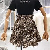 2018 Spring Summer Women Fashion Leopard Skirt New High Waist Slim Korean Style Mini Skirts Girls Student All match Skirt