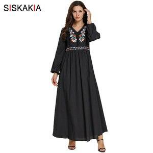 Image 1 - Siskakia מזדמן מוסלמי ארוך שמלת אתני V צוואר ארוך שרוול פרחוני רקמת מקסי שמלות שחור בתוספת גודל בגדי ערב 2019