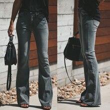 Черные узкие расклешенные джинсы для женщин, эластичные джинсы с высокой талией размера плюс, расклешенные джинсы, Стрейчевые узкие брюки, расклешенные брюки