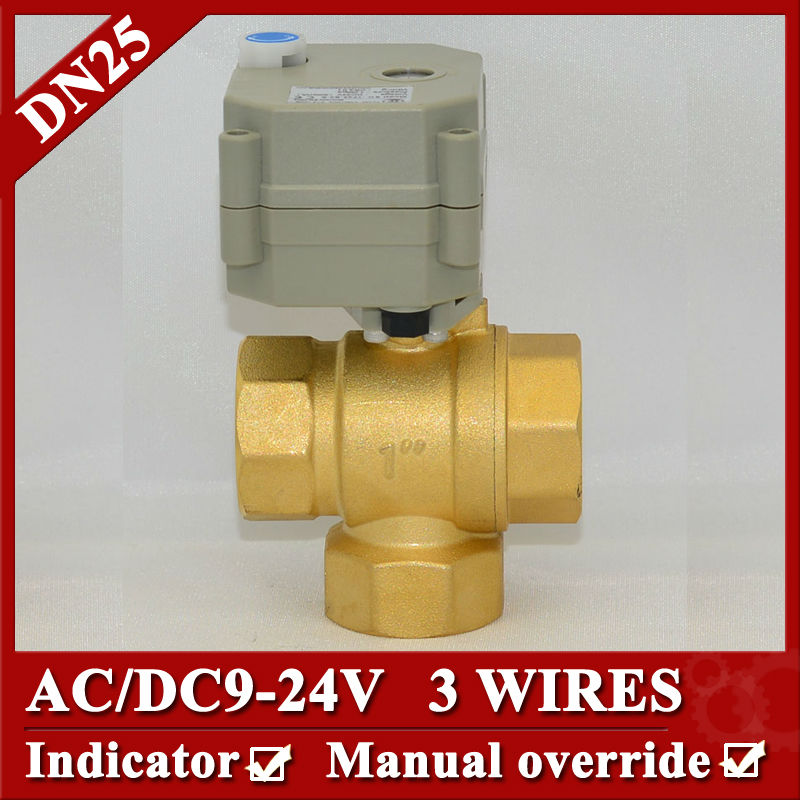 electric motorized valve 3 way T type 9-24V 3 wires for HVAC,solar water,air conditional fan coil water softener water treatment 1 dc12v 2 wires 3 way electric valve t type 2 wires manual override available for water heating hvac air conditional