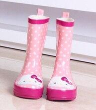 Привет котенок в сапоги для девочек водонепроницаемый принцесса обувь детей ярко розовый мультфильм дождь обувь для девочек горошек сапоги