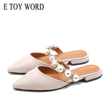 E TOY WORD 2019 women slippers Square Heel woman casual Shoes Slip On Mules Slides Pearl Bead Pointed Toe Low Sandals