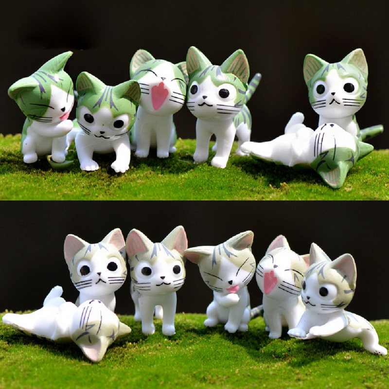 6pcs Miniature Chi's Sweet Home Toys Cute Cheese Cat  Japanese PVC Anime Cartoon Manga Figures For Kid/Child Succulents Potting lps pet shop toys rare black little cat blue eyes animal models patrulla canina action figures kids toys gift cat free shipping